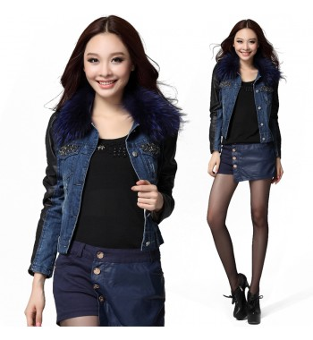 Denim Jacket  with Leather Sleeve