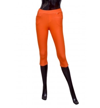 Sunquest Orange Pedal Pushers Cropped Leggings