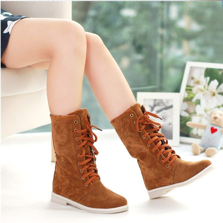 Boots, Ankle Length Suede Boots in line Checkers