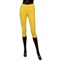 Bright Yellow Pedal pushers Cropped Leggings