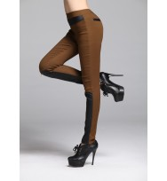 Brown Leather Patch with Zipper Jeggings