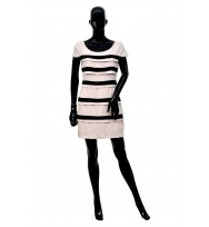 Bodycon Dress With Lurex Stripes in Black