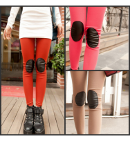Leather Patch Knee Leggings