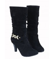 Suede High Heel Ankle length Boots