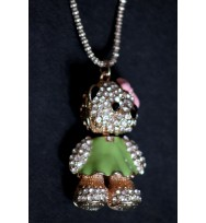 Crystal Teddy Pendant Necklace