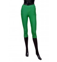 Parrot Green Pedal Pushers Cropped Leggings