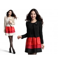 Casual jacket with flower broach