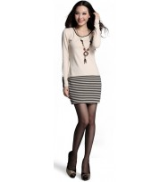 Casual Dress With Black Stripes
